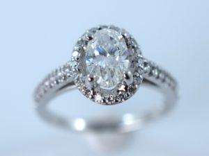 oval diamond engagement custom ring at Omori in Winnipeg