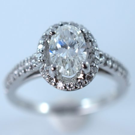 oval diamond engagement custom ring at Omori in Winnipeg