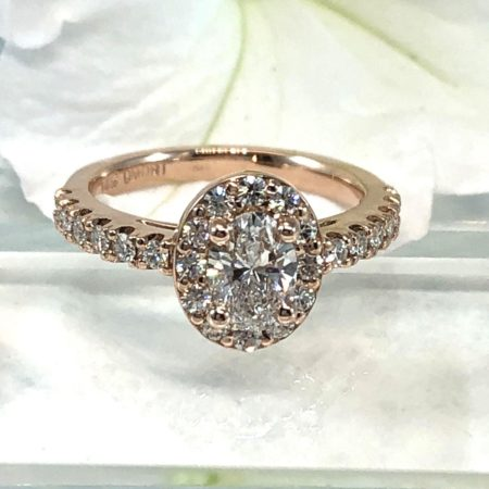 custom rose gold engagement halo ring