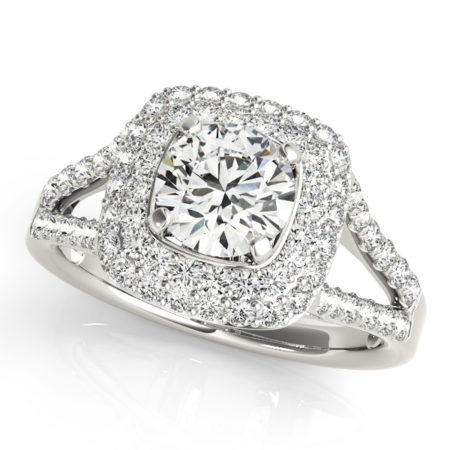 halo engagement ring with cushion cut diamond