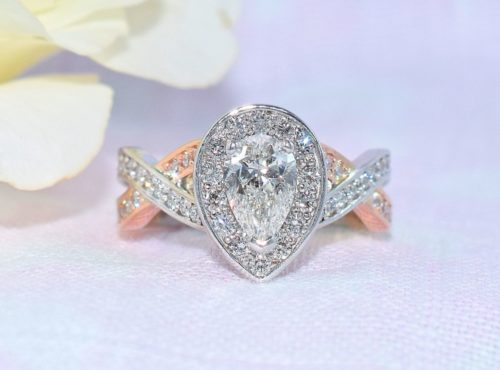 pear diamond rose gold engagement ring