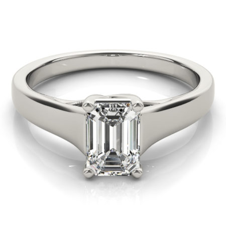 solitaire emerald cut engagement rings