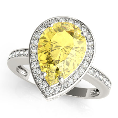 yellow pear diamond engagement ring