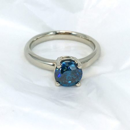 blue diamond soliatire engagement ring winnipeg