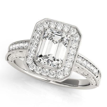 custom art deco halo rings