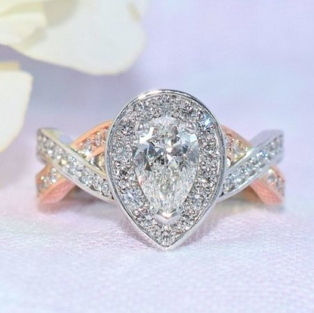 pear diamond rose gold engagement ring