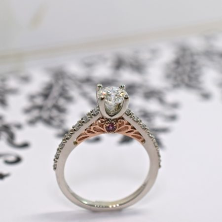 rose and white gold custom engagement rings