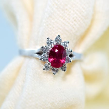 ruby halo ring with diamonds
