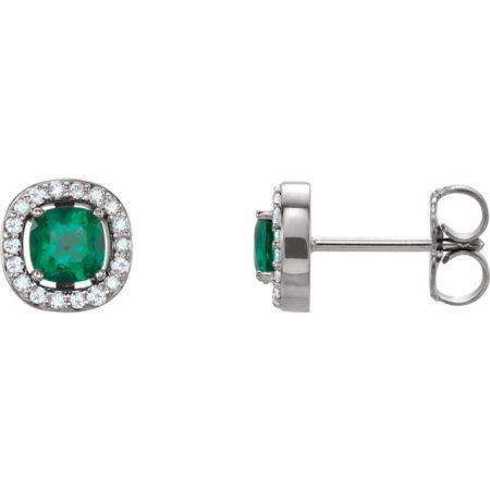 emerald halo earrings