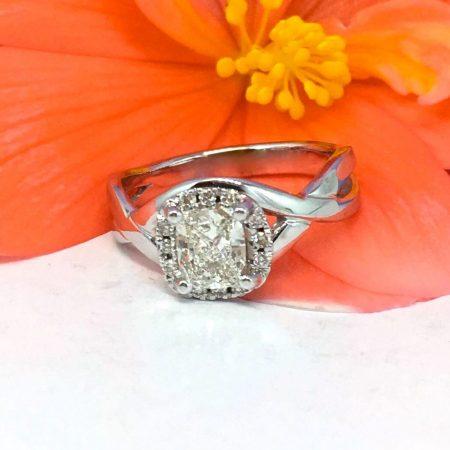 cushion cut split band engagement ring