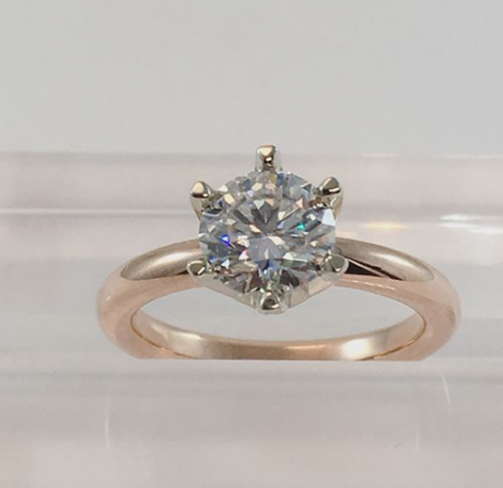 rose gold 6 claw solitaire engagement ring