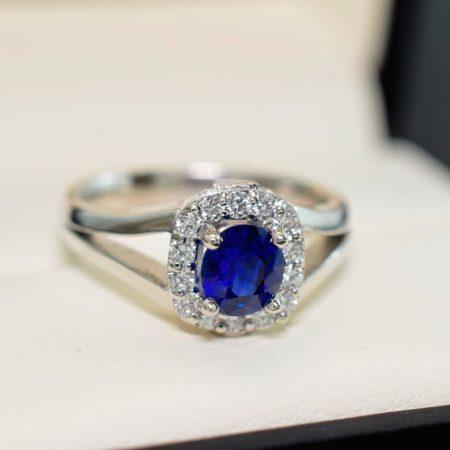 sapphire engagement ring cushion halo