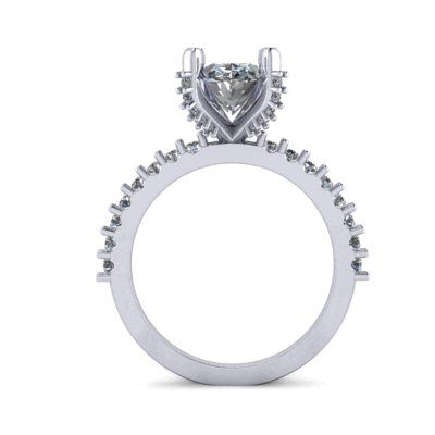 side image of oval engagement ring
