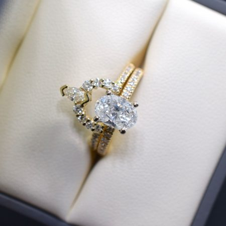 custom wedding band and engagement ring