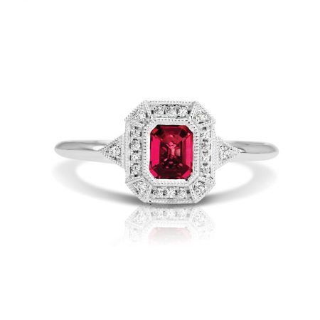 emerald cut ruby engagement ring