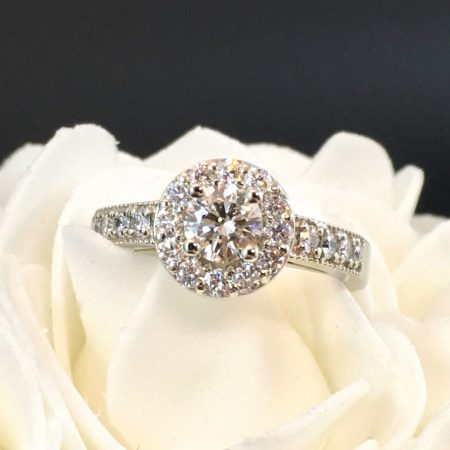 halo engagement ring in white gold