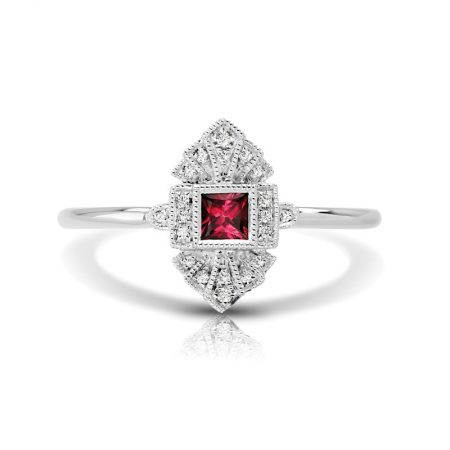 princess cut ruby engagement ring
