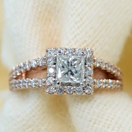 princess cut diamond halo engagement ring in rose gold