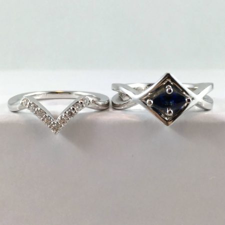 sapphire wedding ring and engagement ring