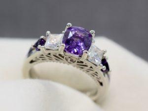 purple sapphire antique engagement ring winnipeg