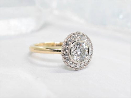 antique halo engagement ring with rose cut diamonds
