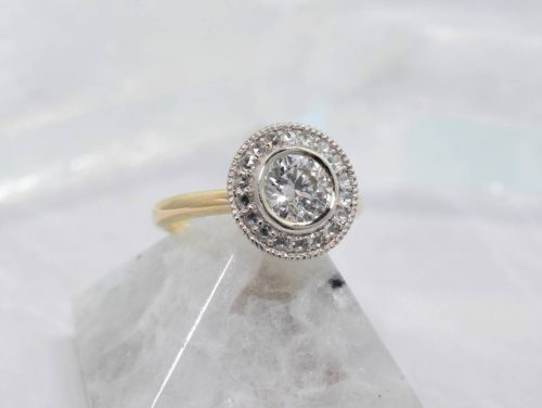 yellow gold antique halo engagement ring winnipeg